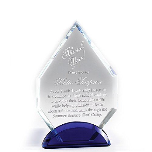 Customizable 7 Inch Arrowhead Optical Crystal Award with Blue Base with Personalization