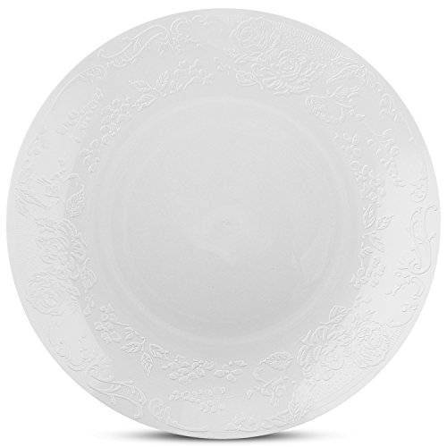 China Round Flower - Disposable Wedding Round Party Plates with Embossed Flowers Design - Real China Look Plastic Dinnerware, Hard and Reusable (10