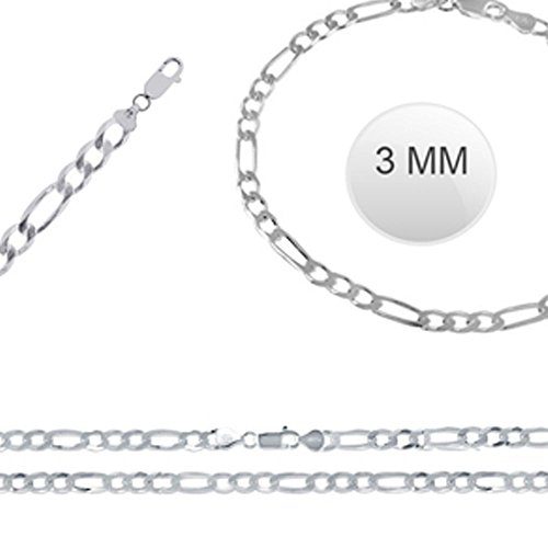 Italian Solid Sterling Silver Fancy Figaro Link Chain 080 - 3MM Nickel Free Necklace with Lobster Claw Clasp Closure - Crazy2Shop