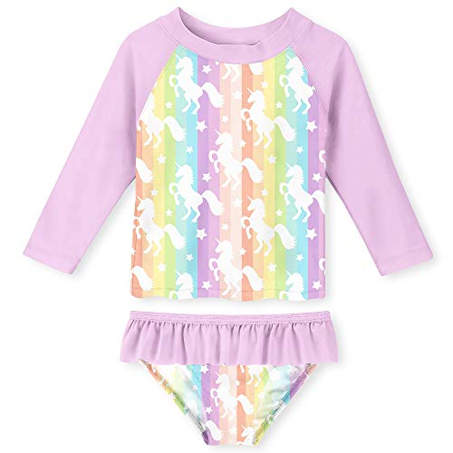 - Funnycokid Rainbow Unicorn Long Sleeve Swimsuits for Kids 2 Pieces Set Swimwear Quick Dry Surfing Wetsuit for Girl 5-6 Years