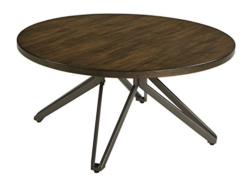 Ashley Furniture Signature Design – Tavonni Contemporary Round Cocktail Table – Brown/Black