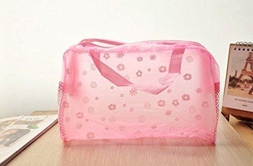 HomeGardenDeal Multipurpose Floral Crystal Comestic Makeup Beauty Storage Travelling Bath Bag Pink