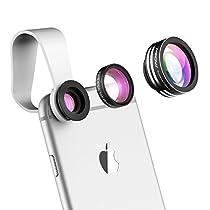 Mpow Lente Smartphone Clip On 3 in 1, Lente Fisheye180°, Lenti Grandangolo 0,67X, Lenti Macro 10X, Lente Cellulare per iPhone 7/6/6 Plus/5/5S, Samsung, Huawei, HTC, Xiaomi, Sony ecc.