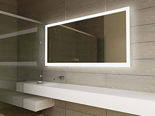 Modern Mirror Design LED Illuminated Bathroom With Sensor Shaver Socket And Demister Pad C1419 Clear Glass 650mm X 1300mm Amazoncouk Kitchen