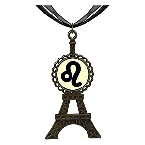 Chicforest Bronze Retro Style Leo Zodiac Eiffel Pendant