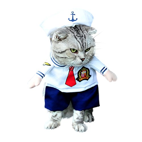 [SMALLLEE_LUCKY_STORE Small Dog Clothes for Girls Boys Cat Dog Sailor Costume with Hat Navy All Seasons, Medium,] (Business Suit Dog Costume)