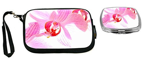 Rikki Knight Pink Orchid Design Neoprene Clutch Wristlet with Matching Square Compact Mirror (Wristlet Pink Orchid)