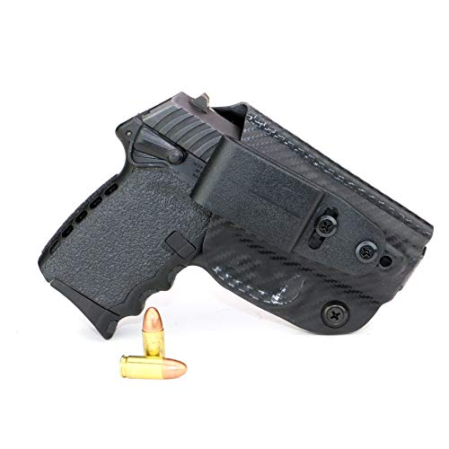 FoxX Holsters Deluxe Trapp Kydex IWB Holster - SCCY CPX-1 & CPX-2 Our Smallest Inside Waistband Holster Adjustable Cant & Retention, Conceal Carry (Carbon Fiber Black)