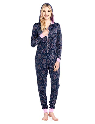 Ashford & Brooks Women's Mink Fleece Hooded One Piece Pajama Jumpsuit - Pink Navy Paisley - -