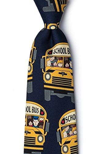 School Bus Navy Blue Microfiber Tie