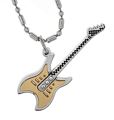 R.H. Jewelry Stainless Steel Guitar Pendant for Men and Women - Electric Guitar Necklace Jewelry