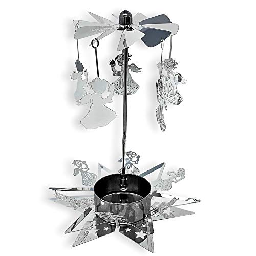 (BANBERRY DESIGNS Spinning Angels Candle Holder with Star Base Scandinavian Style)