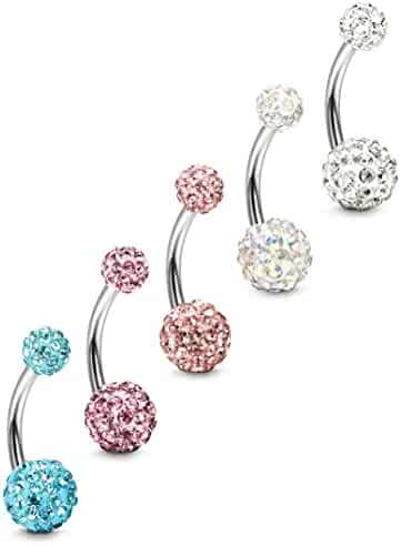 FIBO STEEL 5 Pcs 14G Stainless Steel Belly Button Rings Navel Barbell Body Jewelry Piercing