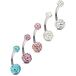 Short Belly Button Rings 5 Pcs 6Mm Stainless Steel Petite Navel Rings For Body Piercing