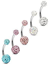Subiceto 5-10pcs 14G Stainless Steel Belly Button Rings for Women Crystal CZ Ball Screw Navel Bars