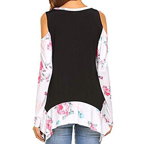 Collo Tops T In Lunghe Stampe Nero Pullover Pizzo Floreali Elegante Camicie O Casual donna Abcone shirt Camicette Autunno Felpa Maniche UBz8q