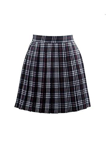 Vogstyle Women's Basic High waisted Solid Pleated Mini Uniform Skirt Dark blue mixed white L - Pleated Plaid Mini