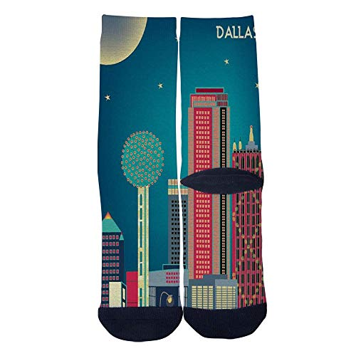 Eletina lee Eletina kgirt Men S Women S Custom Dallas Texas Skyline Poster Socks 3D Print Novel Creative Casual Crew Socks -