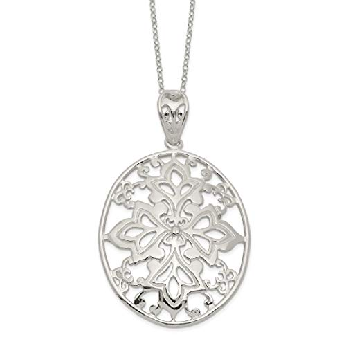 - 925 Sterling Silver Large Oval Chain Necklace Pendant Charm Fine Jewelry For Women Gift Set