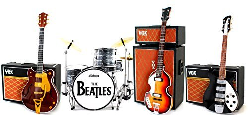 (The Beatles Fab Four Miniature Guitar and Drums Set of 4 with Amp)