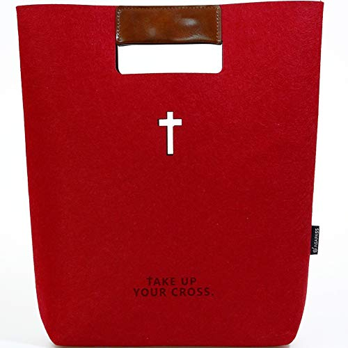 AGAPASS Bible Carrying Case Handbag Felt Bible Cover for Women Christian Bible Tote Carved Cross Holy Bible Bag Leather Tote Church Bible Study Case Bible Case for Women Business Office Bag for Journa