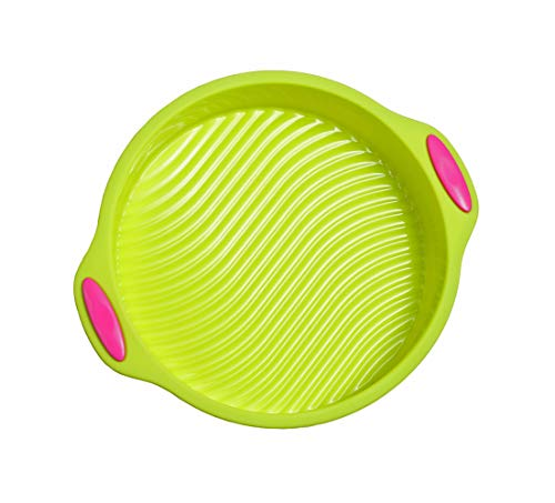 - Megrocle 9-Inch Food Grade Silicone Round Cake Pan, Non Stick Reusable BPA-Free FDA-Approved Large Baking Pans Silicone Cake Mold Bakeware, Green