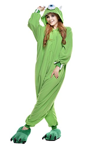 Mike Wazowski Costume For Adults (NEWCOSPLAY PECHASE Halloween Adult Pajamas Sleepwear Animal Cosplay Costume (M  Michael)