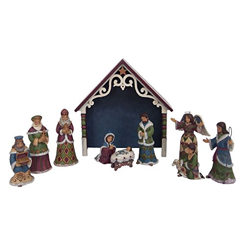 10 Piece Nativity Collection - Enesco Jim Shore Heartwood Creek One Holy Night Victorian Mini Nativity 10-Piece Set Figurine