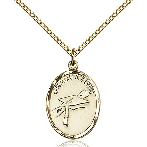 Gold Filled Women's GRADUATION Pendant - Includes 18 Inch Light Curb Chain - Deluxe Gift Box Included by Bonyak Jewelry Saint Medal Collection