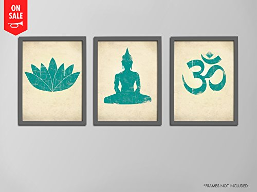 Amazon yoga print set lotus flower prints seated buddha yoga print set lotus flower prints seated buddha prints om symbol prints mightylinksfo