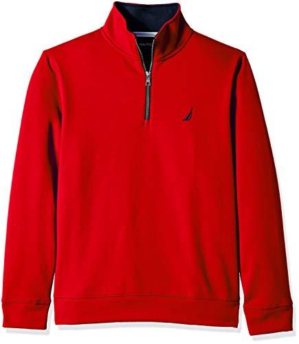 Nautica Men's Solid 1/4 Zip Fleece Sweatshirt, red, Large (Nautica Sweater Men)