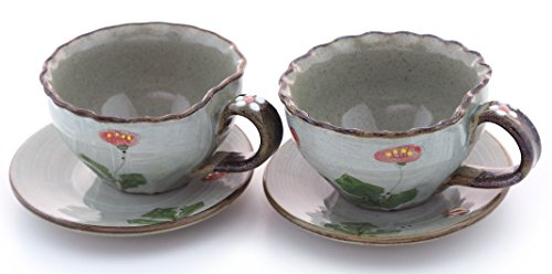 Unique Tea Cup and Saucer Set (Poppy Flower) made By Renown Ceramicist with Highest Quality Clay ☆ 10 Oz Capacity ☆ Set of 2 Teacup and Saucers ☆ Host Wonderful Tea Parties and Share in Delightful Conversations