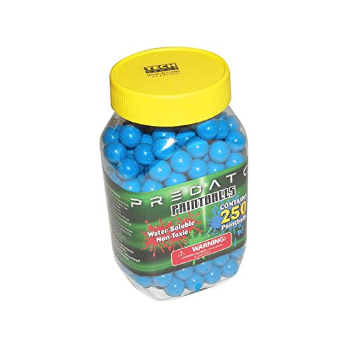 Predator .50 caliber paintballs 250 jar Splatballs BLUE splat master flexball zball by Predator