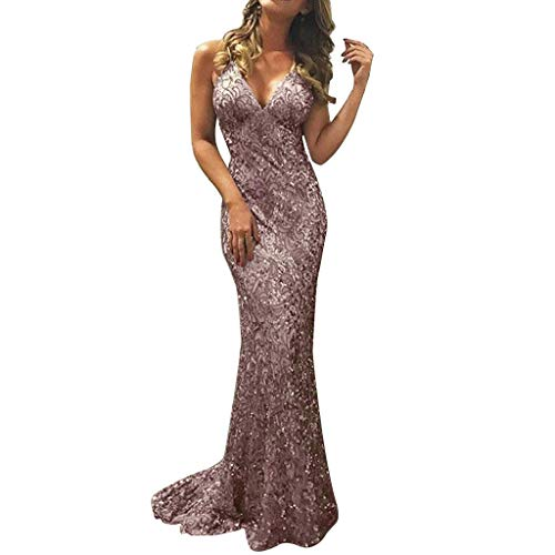 AgrinTol Women Backless V Neck Dress Sexy Sequin Sleeveless Bodycon Cocktail Party Long Dress (S, Pink)