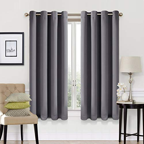 (EASELAND 99% Blackout Curtains 2 Panels Set Room Cooling Darkening Drapes Thermal Insulated Solid Grommets Window Treatment Pair for Bedroom, Nursery, Living Room,W52xL63 inch,Dark Grey)
