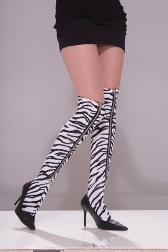 Forum Novelties 80's Punk Rock Zebra Zipper Thigh High Stocking Costume (Party Rock Zebra Costume)