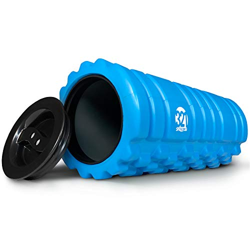 (321 STRONG Foam Roller for Muscle Massage with End Caps - Store Keys, Towels, and Other Accessories - Blue)