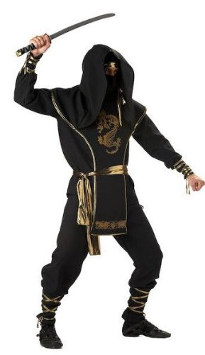 [InCharacter Costumes Men's Ninja Warrior Costume, Black/Gold, Medium] (Ninja Costume Man)