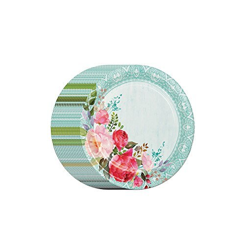 Performa Rustic Beauty Spring/Summer Paper Disposable Plates Heavy Duty in Large Bonus Pack (Round 80 ct)