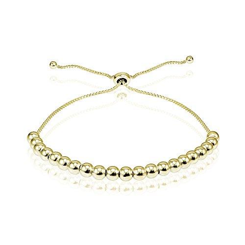 Gold Flash Sterling Silver 4mm Bead Adjustable Bracelet - Multi Gemstone Bracelet Watch