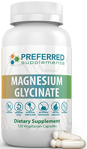 PREFERRED SUPPLEMENTS| Magnesium Glycinate Capsules | Non-GMO, Gluten Free, High Potency Vegetarian Magnesium Pills | For Healthy Muscle Function, Heart, Nervous System and Increased Energy Levels| For Sale