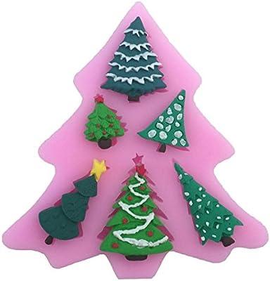 JUNGEN Molde de silicona del 6 Mini Árbol de navidad Molde de pastel para Navidad hornear Decoracion Tartas Pasteles DIY jabón moldes