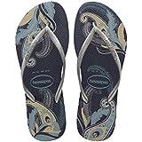 Havaianas Women's Slim Organic Sandal, Navy Blue/Silver,37/38 BR (7-8 M US)