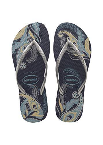 Havaianas Women's Slim Organic Flip Flop Sandal, Navy Blue/Silver, 35/36 BR (6 M US)