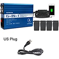 Rucan 6in1 Battery Charger Remote Controller Dual USB Charger for DJI Mavic AIR