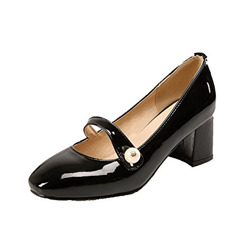 AmoonyFashion Womens Solid Kitten Heels Pull On Square Closed Toe Pumps-Shoes Black 3PslvYP