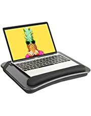 HUANUO Laptop Lap Desk - Fits up to 14 inches Laptop Stand with Phone Holder,Tablet Holder, Portable Lap Desk Built-in Soft Foam Pillow Cushion, Elastic Band,Laptop Stop Bar