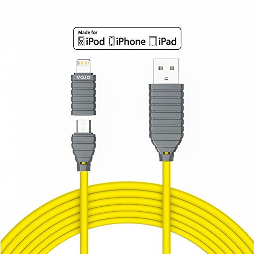 VOJO iMIX Apple Fast iPhone 6 6s Plus iPad mini Charger Micro USB Cable Charging Cord Adapter [Yellow], 4ft/1.2m Premium 8pin Charge and Sync Cord with Adapter for iPhone 5s iPad Mini Air Pro, Andorid (Profile Elite Back Hub compare prices)