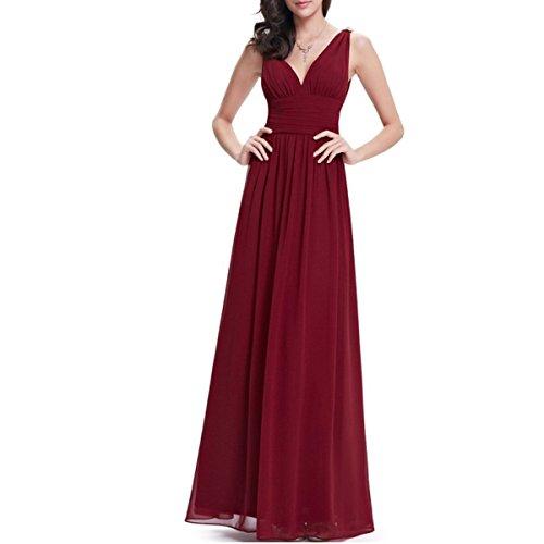 KAXIDY Mujer Vestido Largos Elegante V-Cuello Profundo Coctel Maxi Vestido Vino-rojo