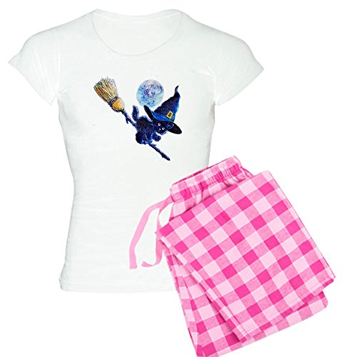 [Royal Lion Women's Light Pajamas Halloween Kitten Witch Broom Moon - Pink Stripe, Medium] (Witch Wig Stripes)